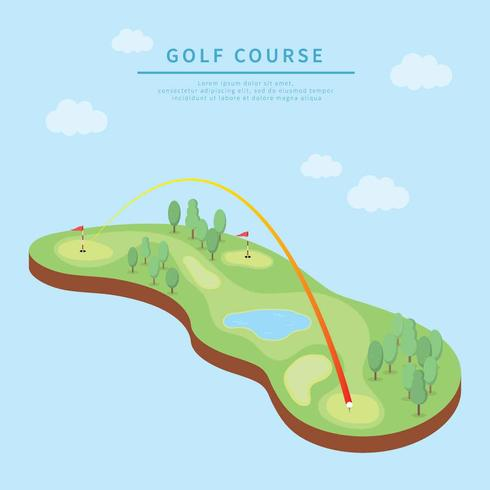 Isometric Golf Course Illustration