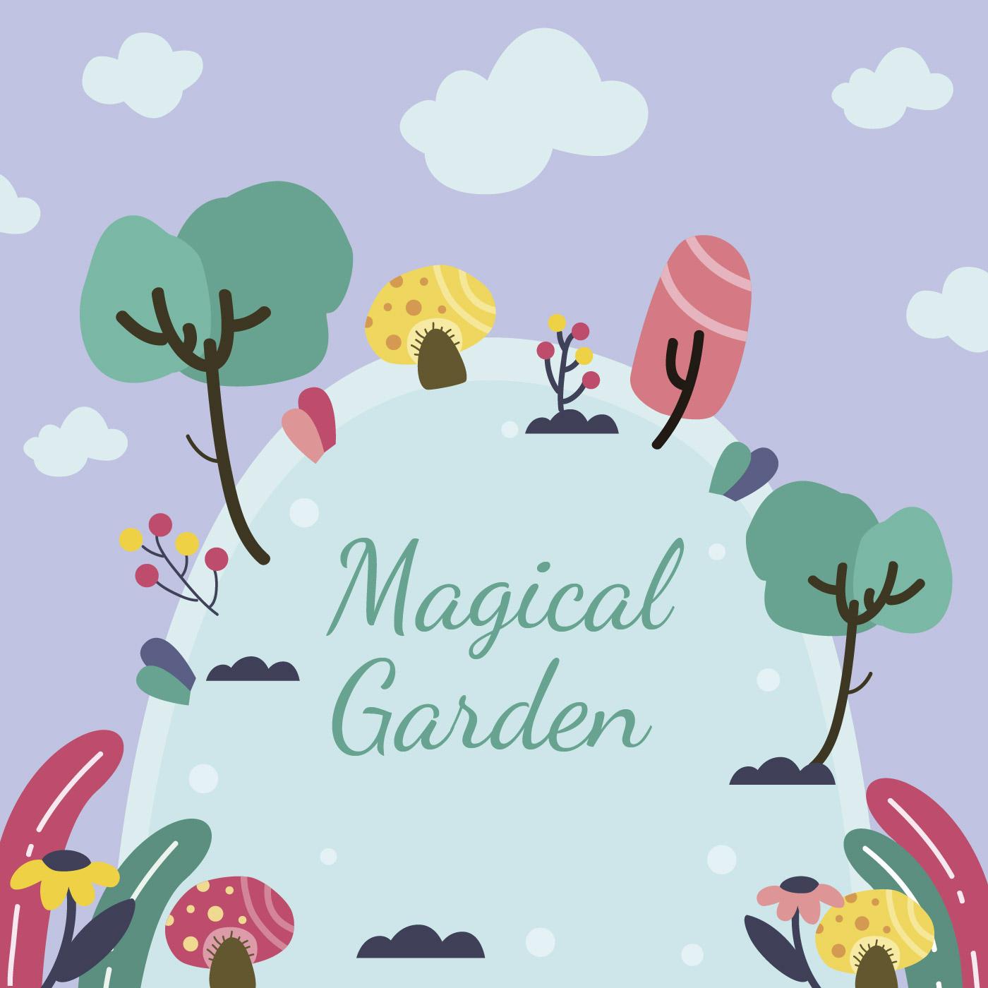 Childlike magical garden background download free vectors clipart graphics vector art - Enchanted garden collection free download ...