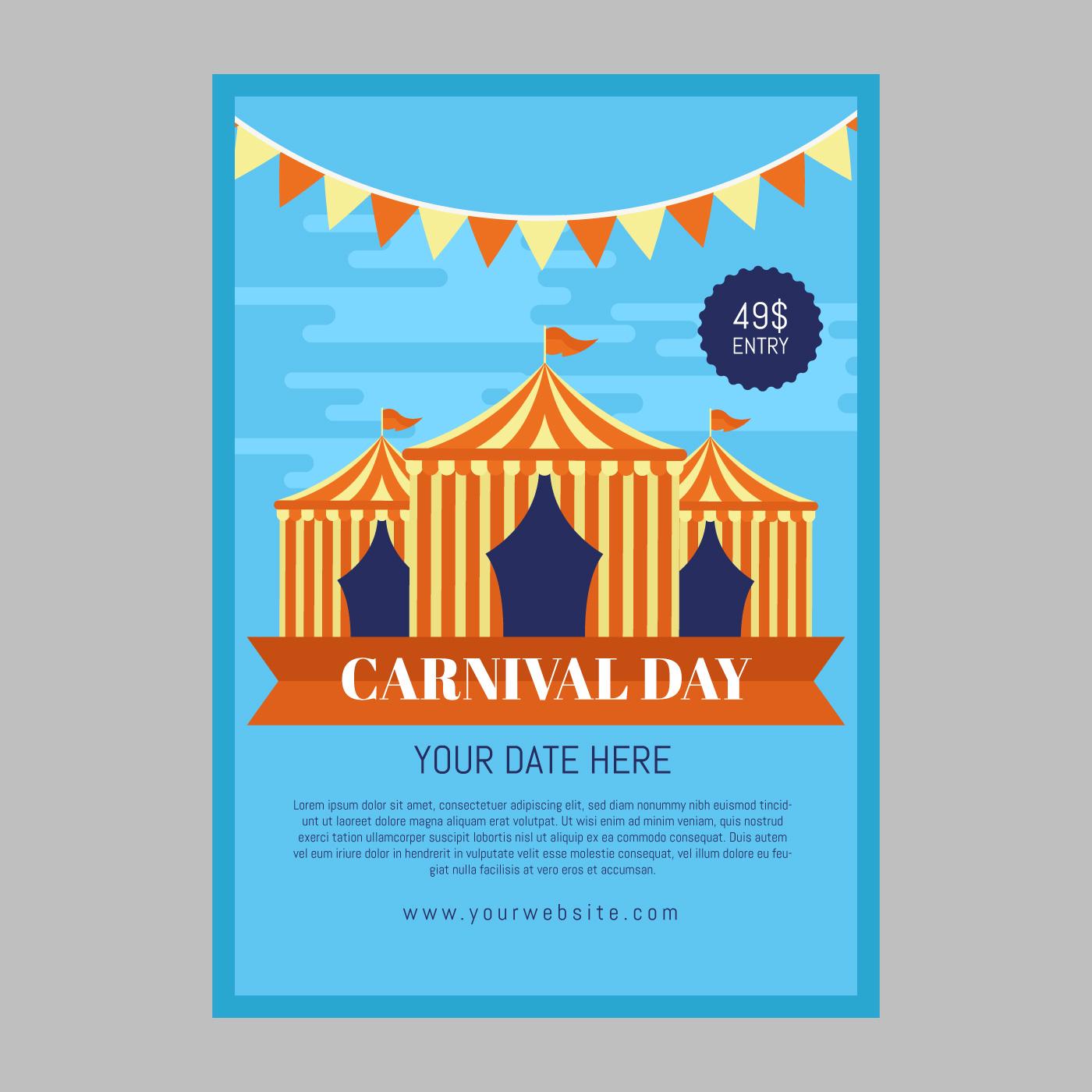 Plantilla de póster de carnaval - Descargue Gráficos y Vectores Gratis