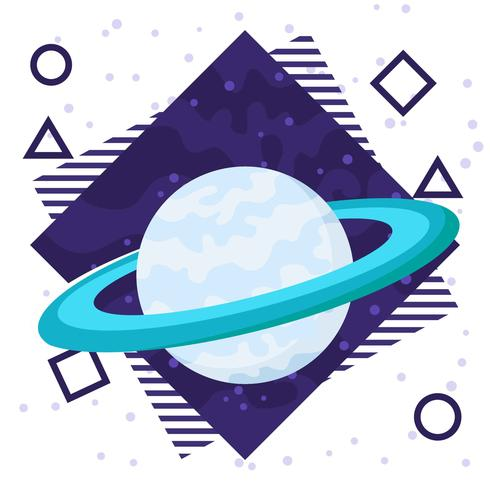 Saturn Planet Flat Background vector