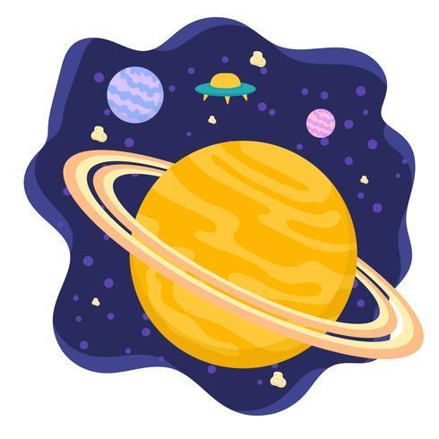 Fondo plano del planeta Saturno vector