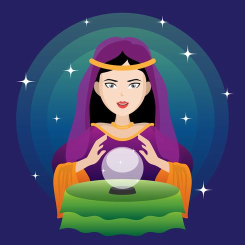 Fortune Teller With Crystal Ball Illustration.