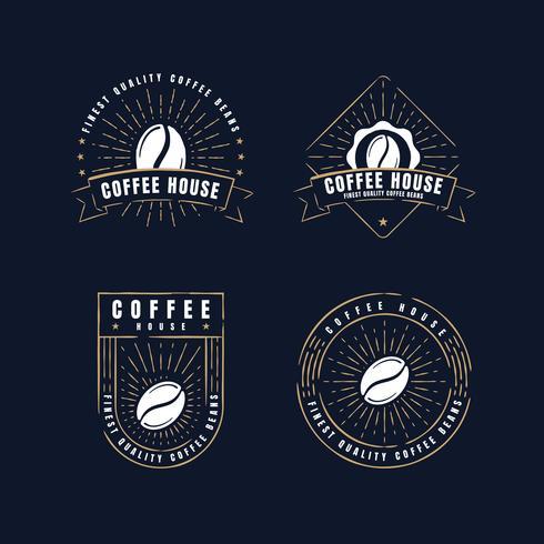 Collections de badges d'étiquettes de café rétro