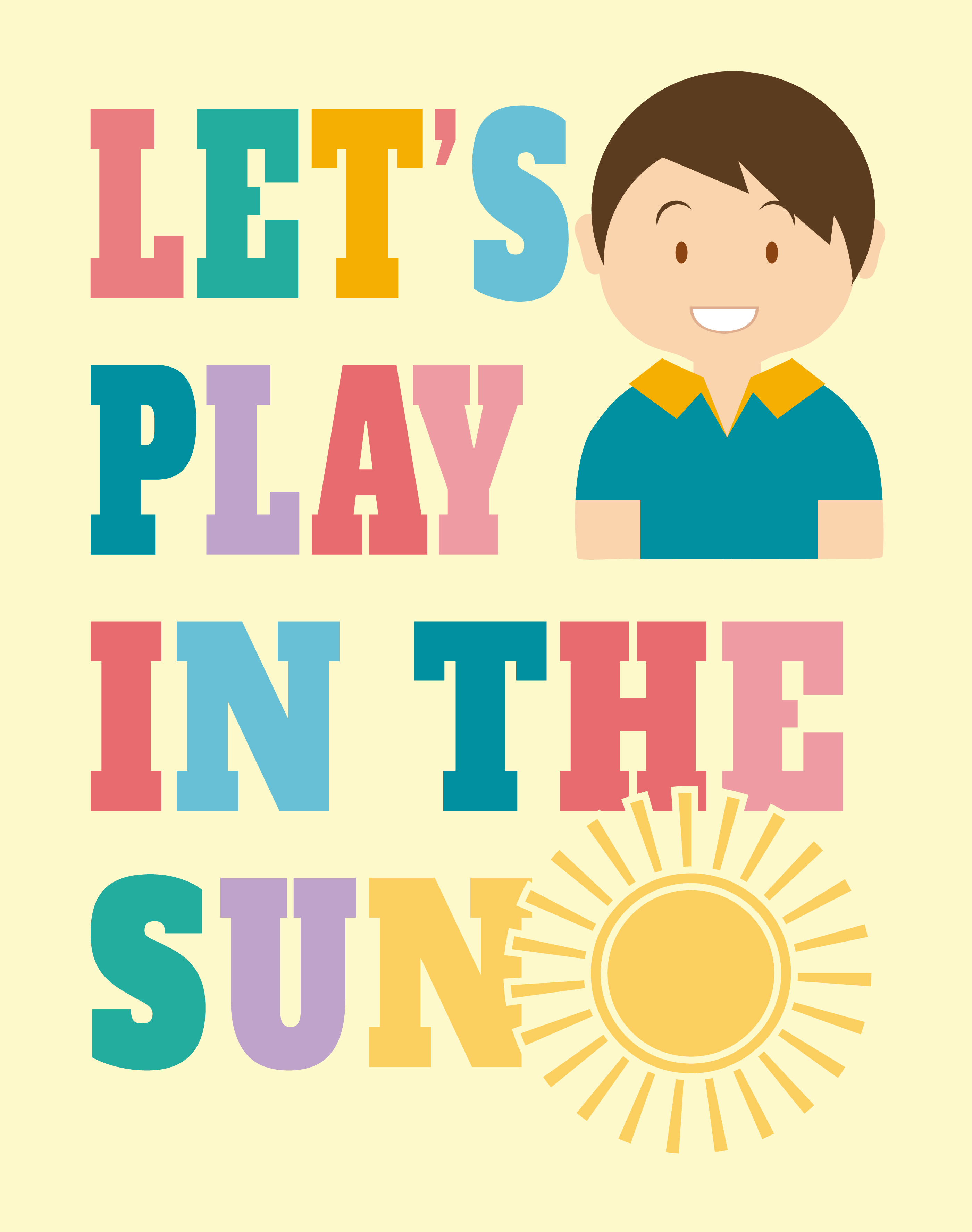 Let\'s Play in the Sun Wall Art Poster - Download Free Vector Art ...