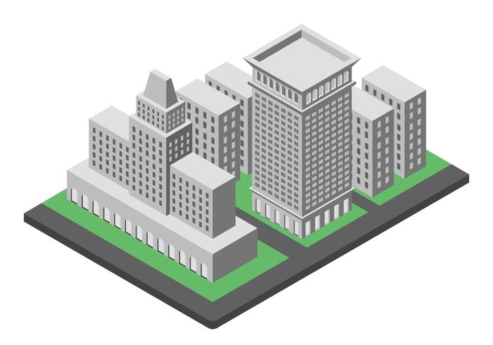 los angeles landmark isometric illustration