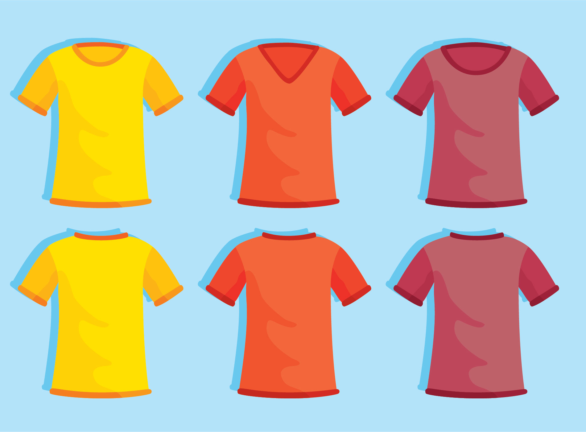 Colored Blank T Shirt Template On Blue Vector Download Free Vector