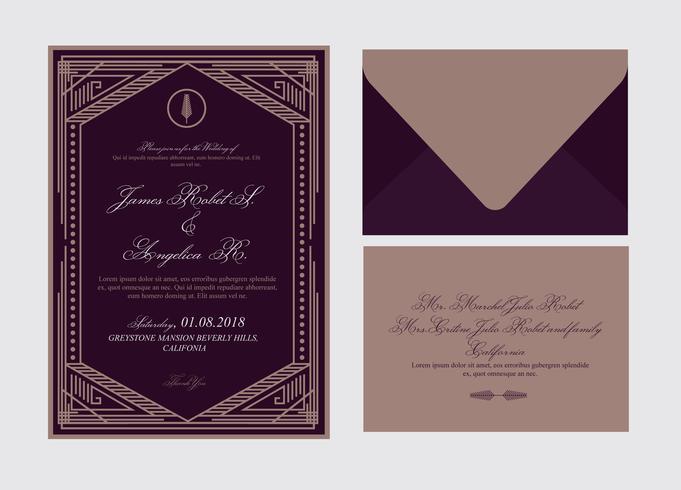 Tarjeta de boda Art Deco vector
