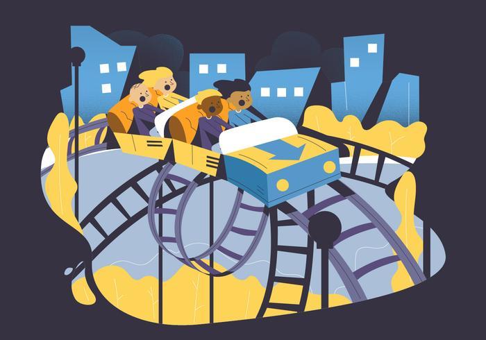 Man Ride Rollercoaster dans le parc Vector Illustration
