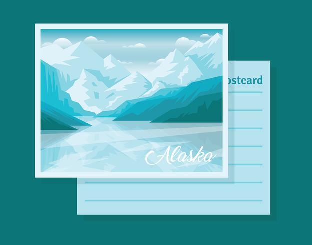 Postkarte von Alaska-Illustration