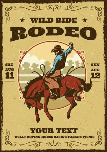 retro rodeo flyer vektor