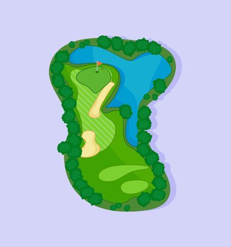 Terrain de golf avec bunker et vecteurs d'eau