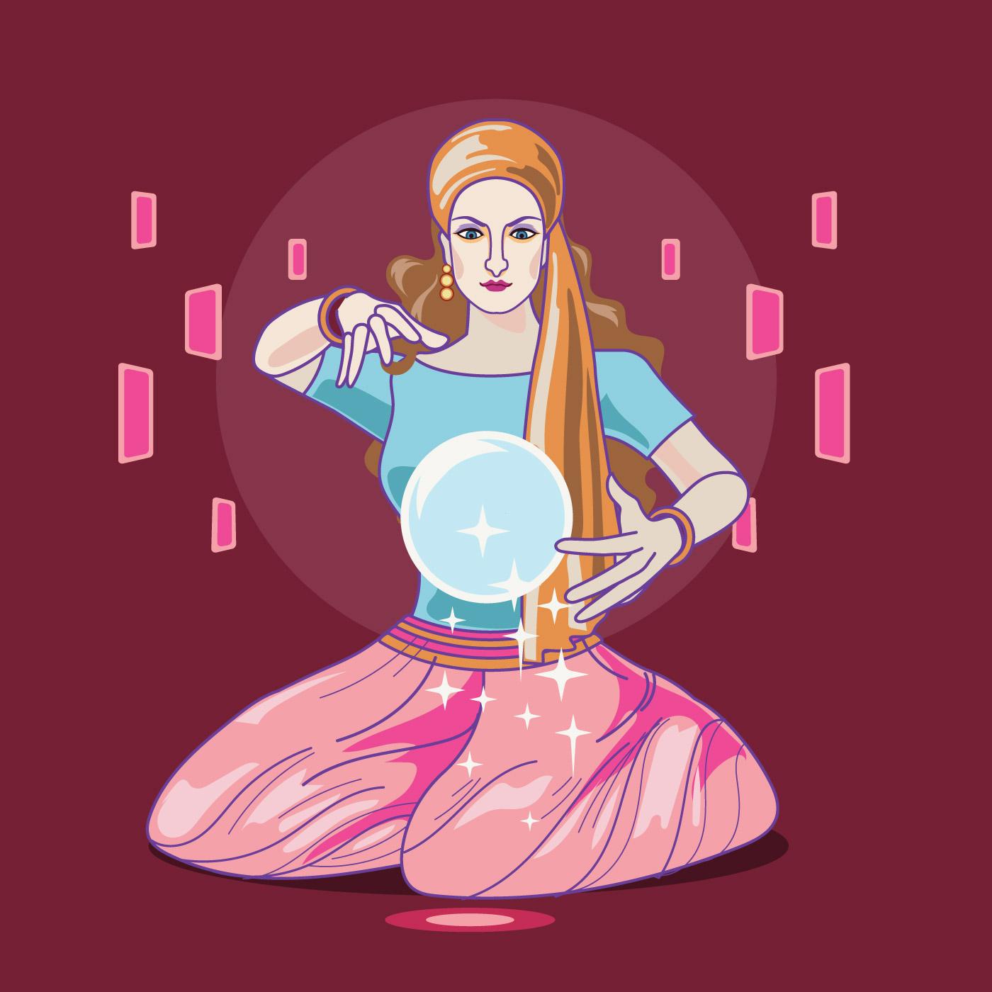 illustration de la fortune teller femme lisant l 39 avenir sur une boule de cristal magique. Black Bedroom Furniture Sets. Home Design Ideas