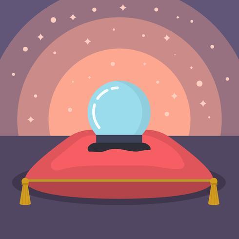 vector de bola de cristal de adivino plano