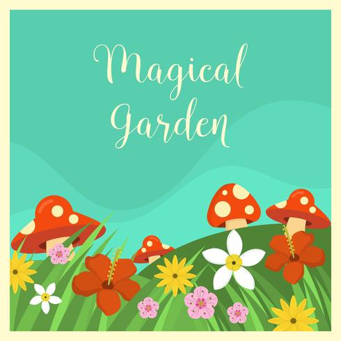 Flat Magical Garden Vector Illustration