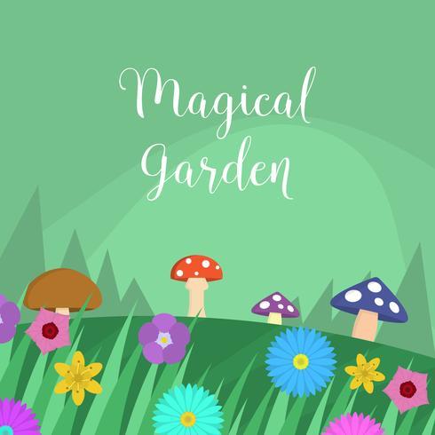 Vlakke magische tuin vectorillustratie