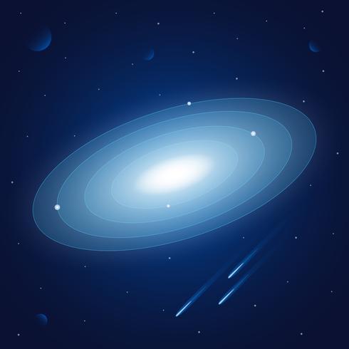 Fundo do espaço com estrelas e ilustração dos planetas