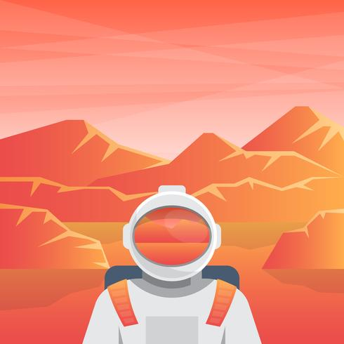 Spaceman Sur La Planète Rouge Mars Illustration