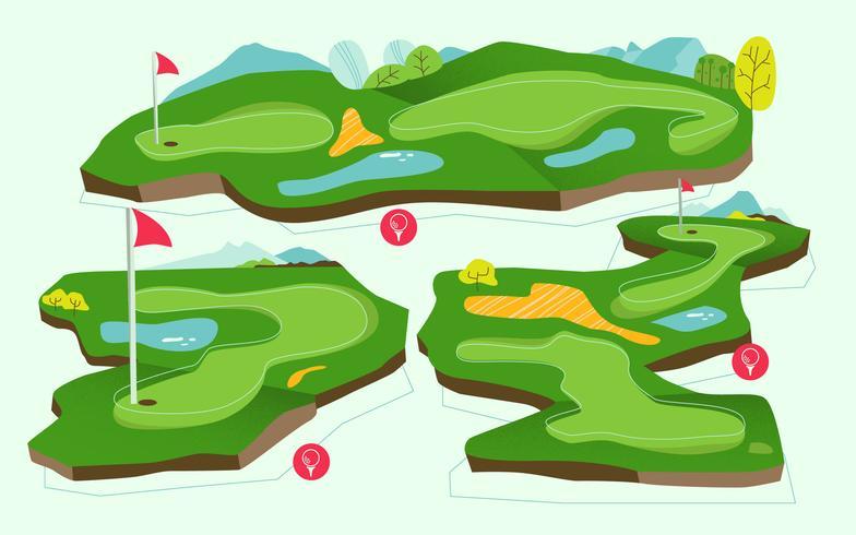 Bovenaanzicht Golfbaan toernooien kaart Vector vlakke afbeelding
