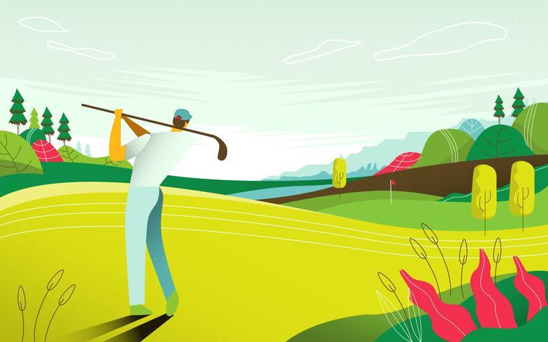 Landschaftsansicht-Golfplatz-Turnier-Karten-Vektor-flache Illustration