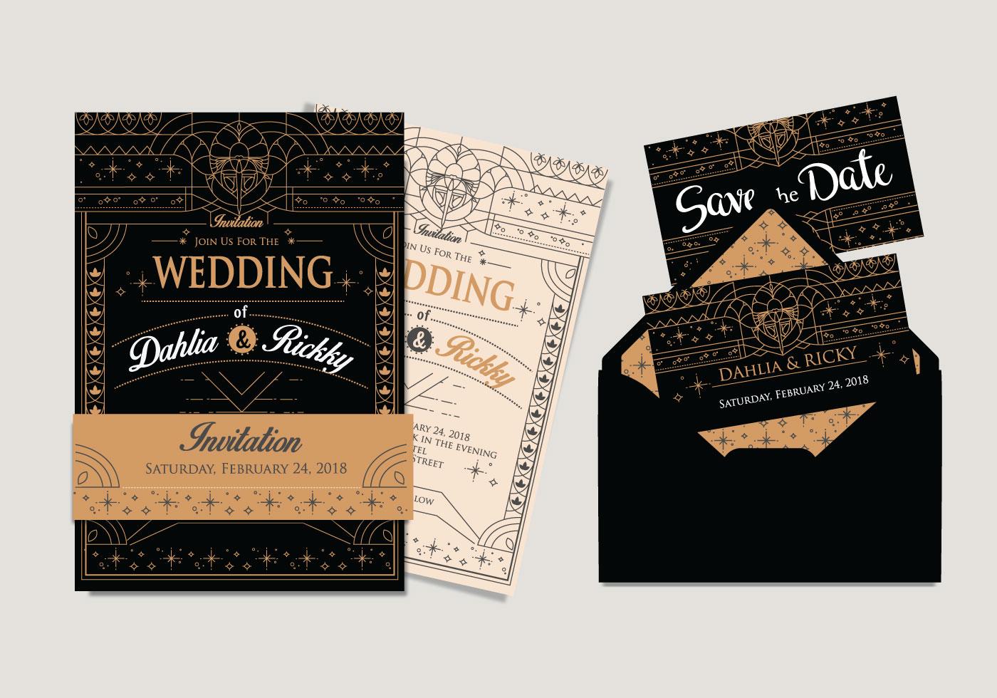 Artist Wedding Invitations: Art Deco Wedding Invitation Vector