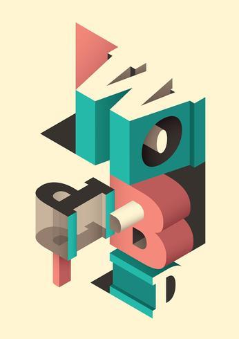 Isometric typography vector
