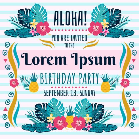 Polynesian Birthday Invitation Vector