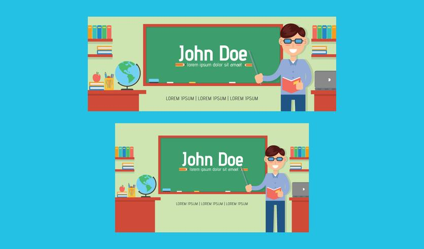 Teacher facebook cover vector