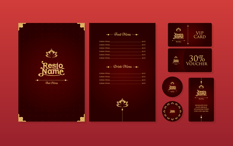 Luxury Thai Menu Restaurant Template Vector