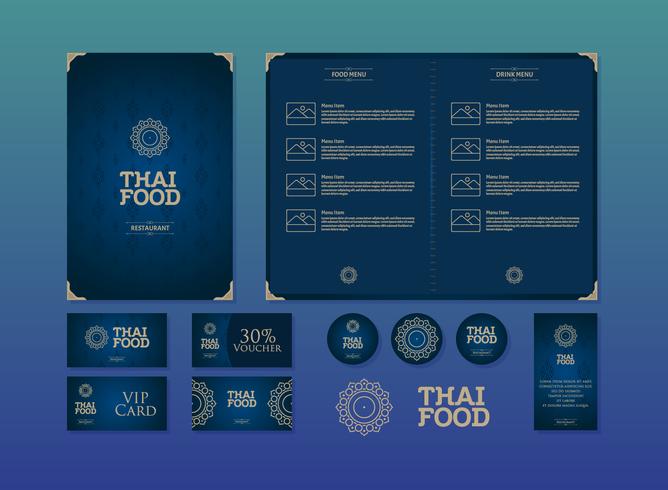 Vetor tailandês do menu do restaurante do menu do alimento