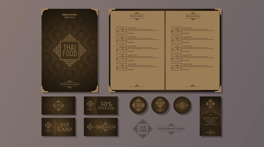 Classy Restaurant Thai Food Menu Template Vector
