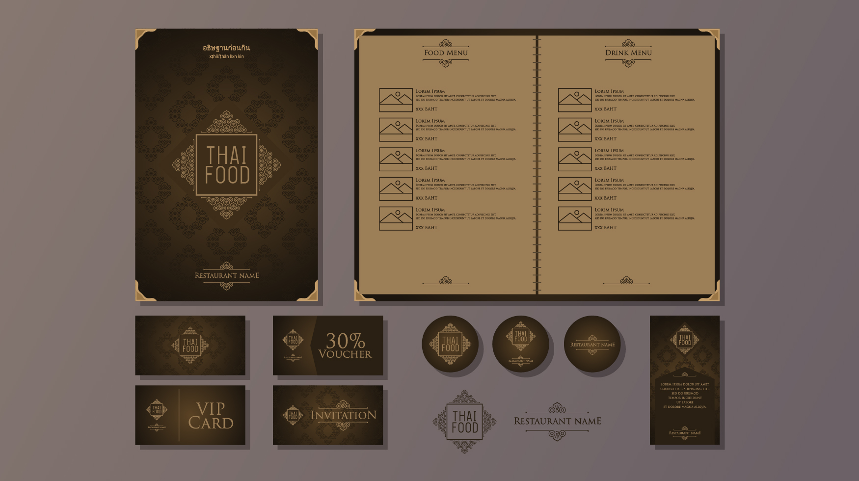 classy restaurant thai food menu template vector