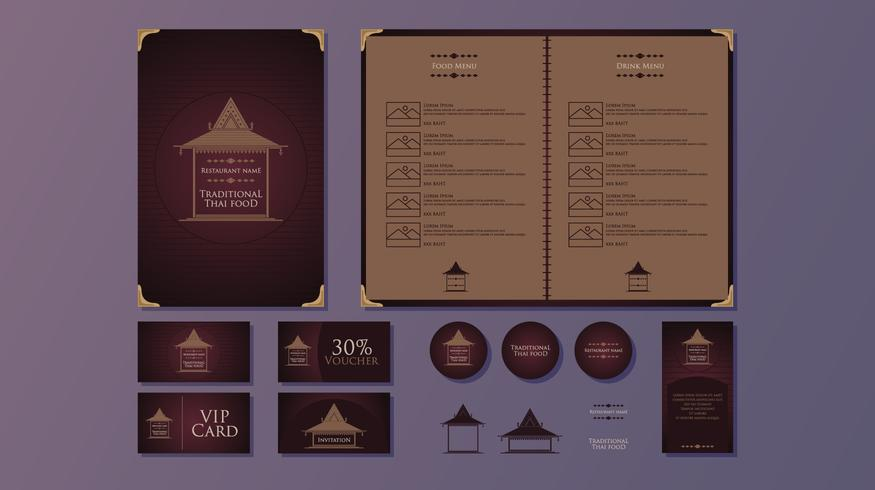 Traditional Thai Food Restaurant Template Vector