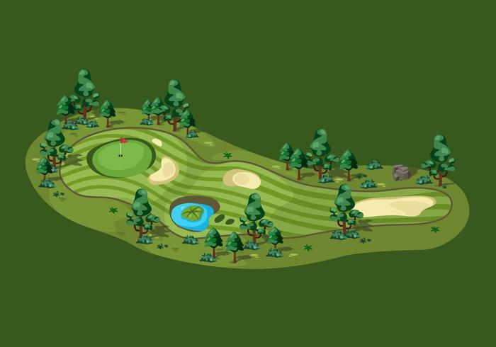 Overhead View Golf Course Vector Illustration