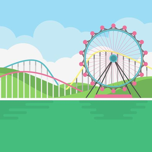 Amusement park scenery illustration