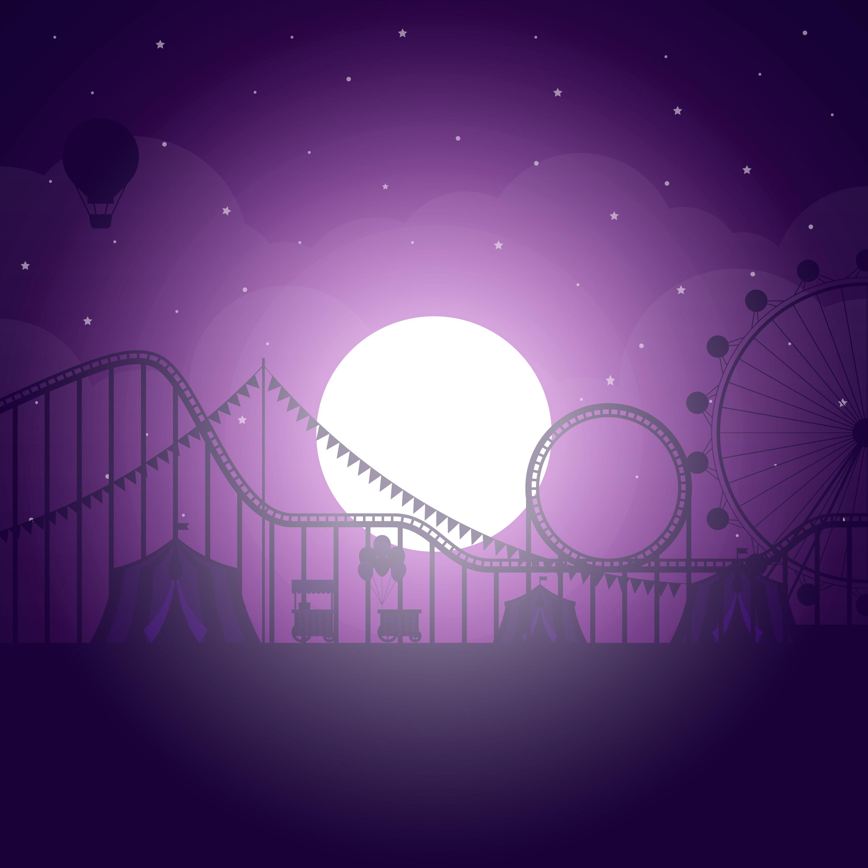 Vector Illustration Web Designs: Amusement Park Scenery Under The Moonlight Illustration