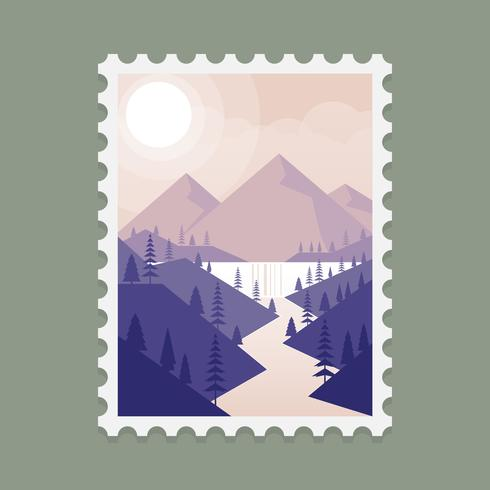 Alaska Mountain Landscape Stamp Template Illustration