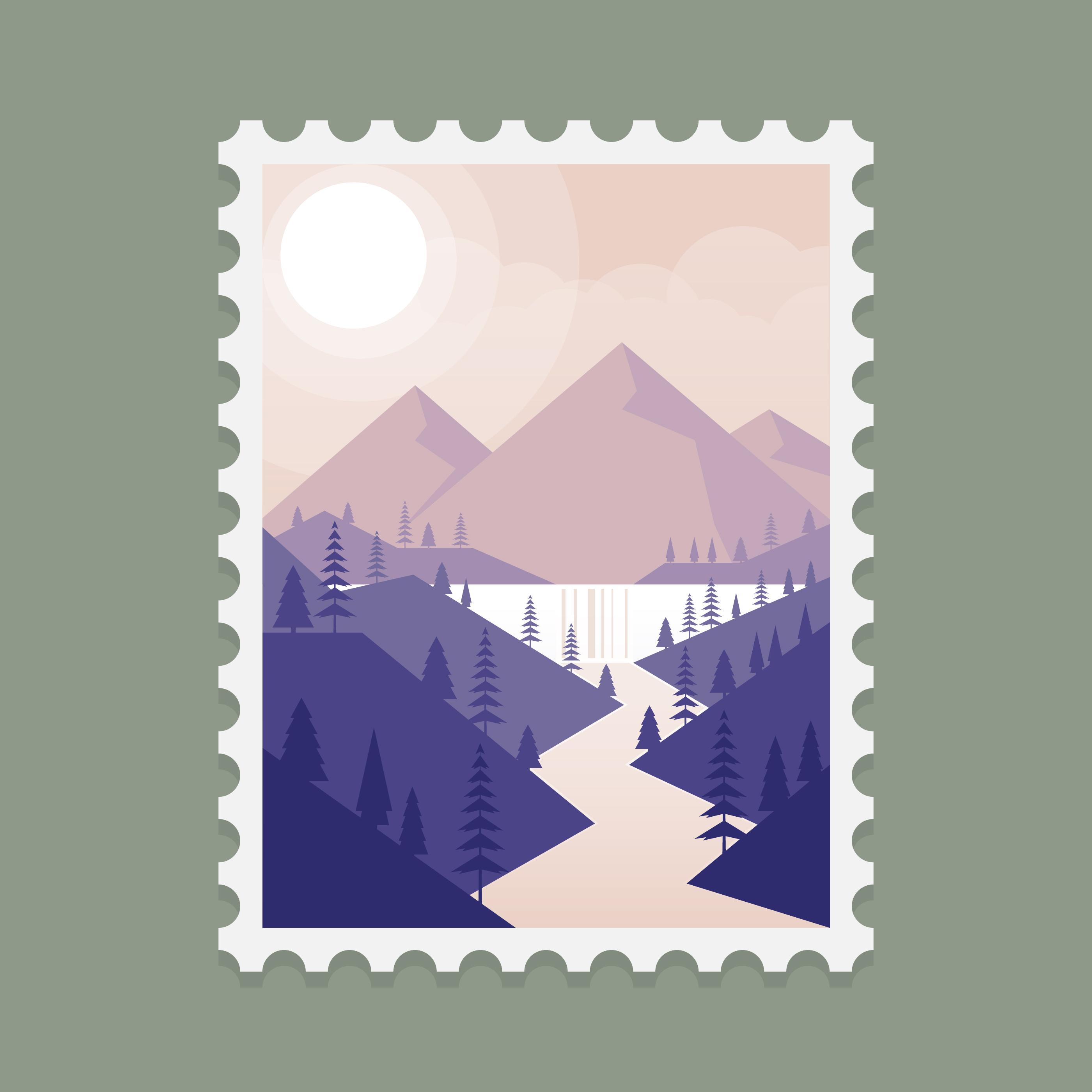 Ilustración de plantilla de sello de Alaska montaña paisaje ...