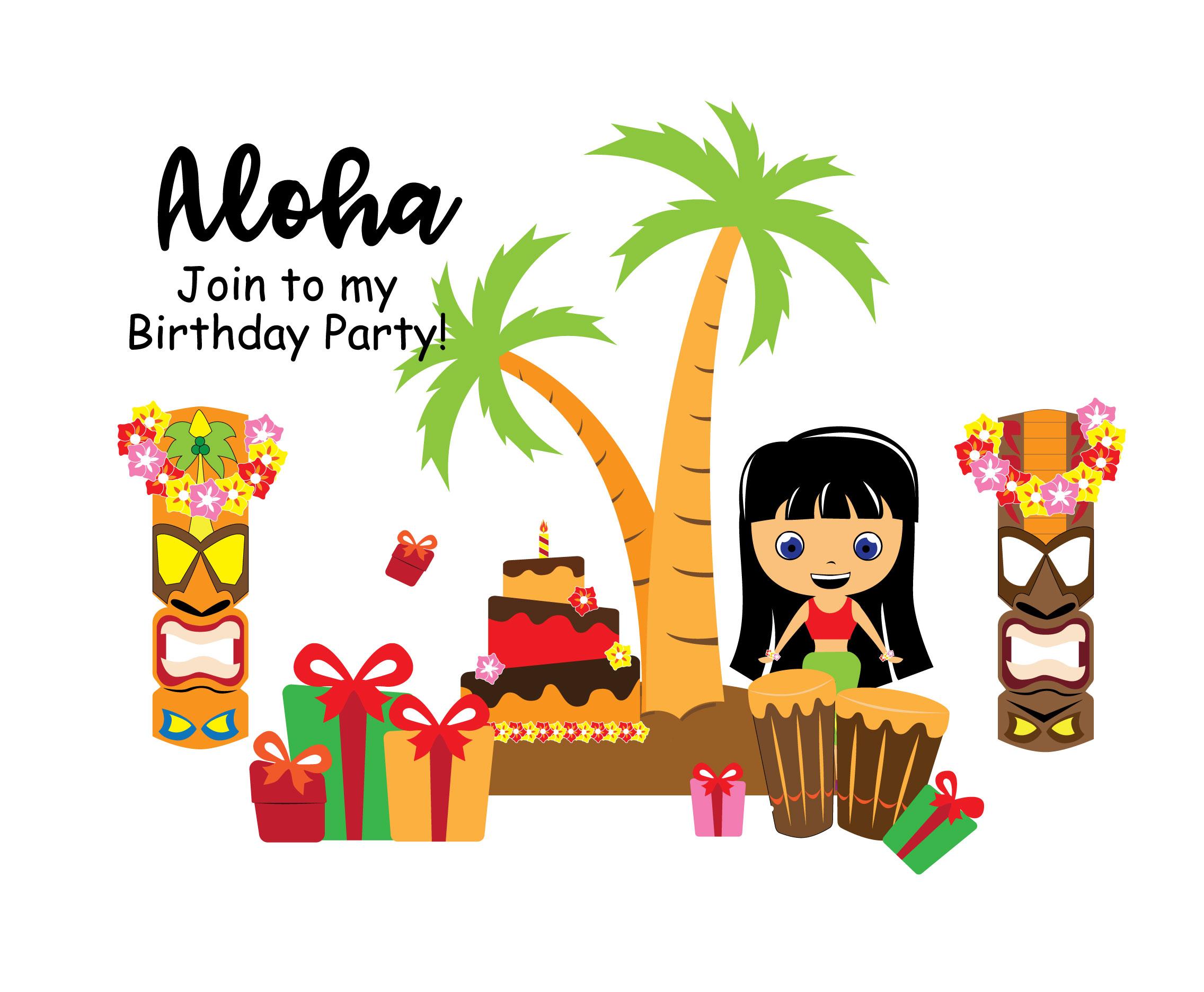Aloha Geburtstag Einladung Vektor - Kostenlose Vektor-Kunst, Archiv ...
