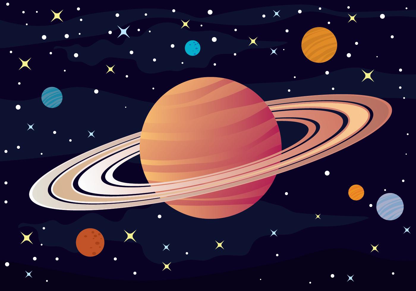 Сатурн рисунок цветной