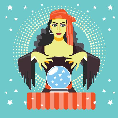 Fortune teller with Crystal Ball - Download Free Vector Art, Stock