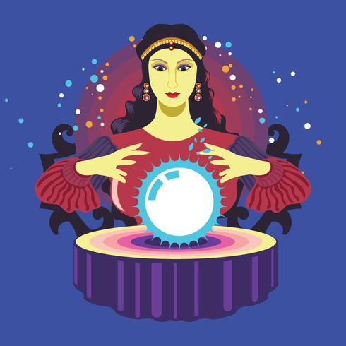 Fortune Teller on Blue Background