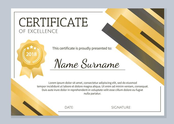 Gold Certificate Of Excellence Template  Download Free Vector Art