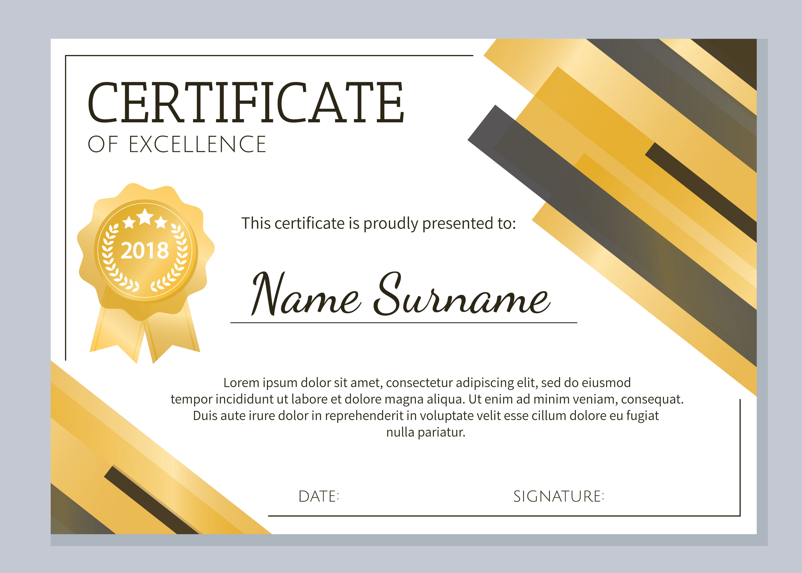 gold certificate of excellence template