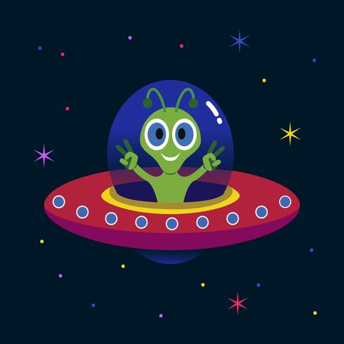 Alien in the UFO illustration