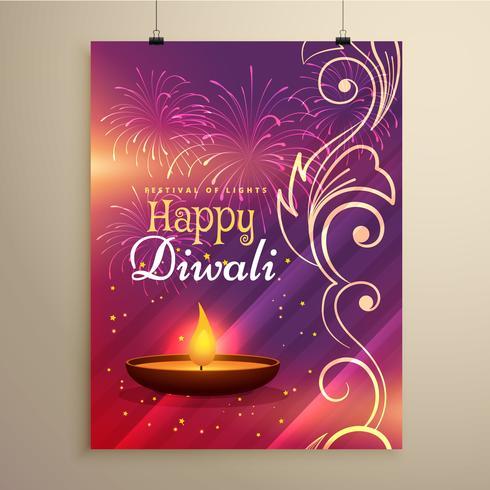 Diwali Festival Flyer Design in schönen Farben mit Blumendekor