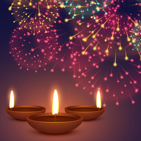 diwali diya with fireworks background illustration