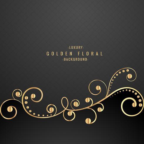 premium golden floral on black background