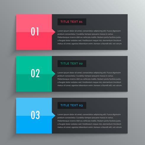 options conception infographique en trois étapes