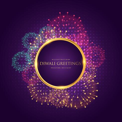 diwali greeting with colorful fireworks