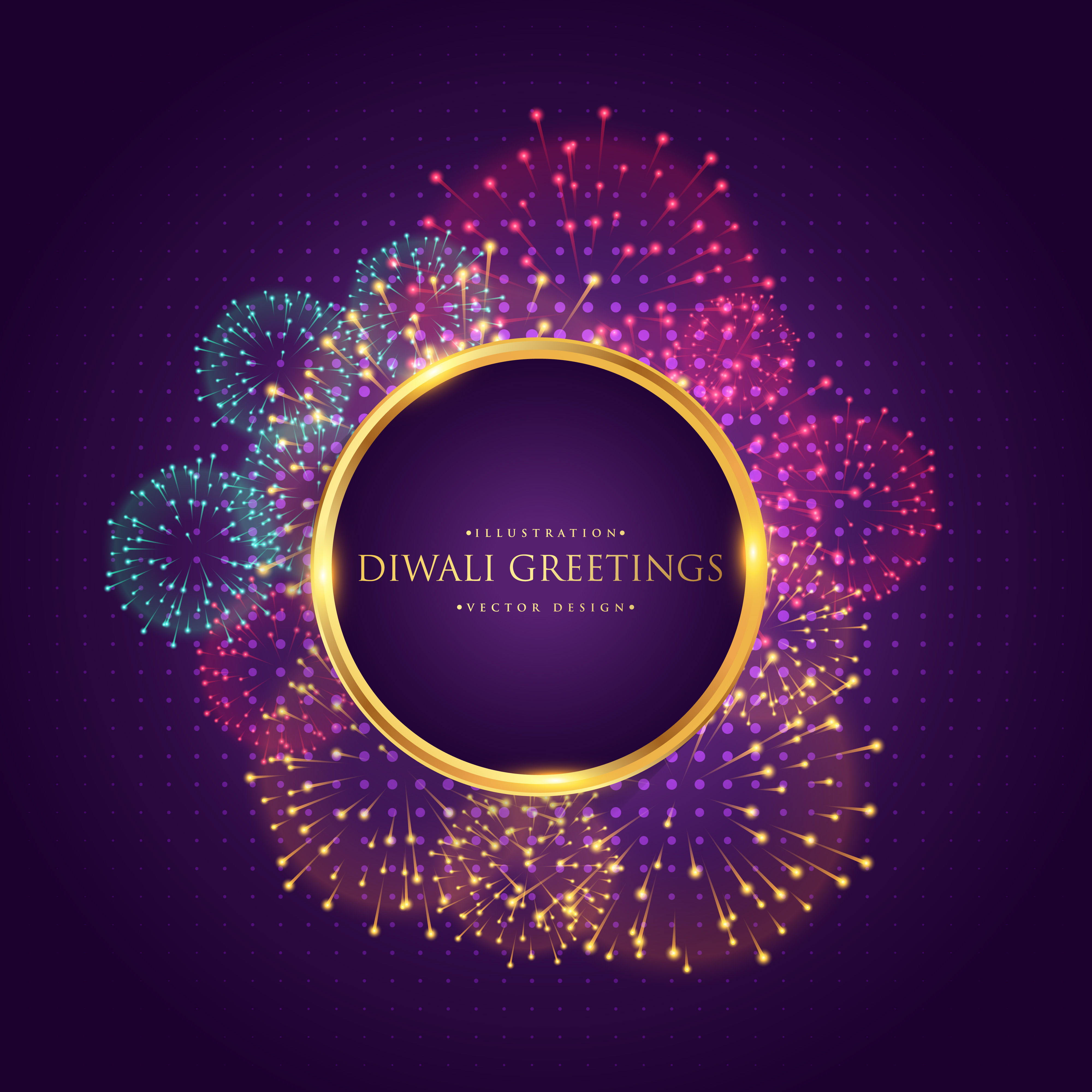 Diwali Greeting With Colorful Fireworks Download Free Vector Art